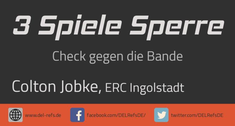 Colton Jobke (ERC Ingolstadt): 3 Spiele gesperrt